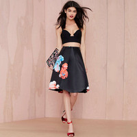 Black Floral Print Pleated Skater Skirt