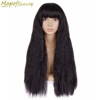 """28"""" 70cm Long Curly Synthetic Hair 4 Colors Black Dark Brown Red Cosplay Wig Full Bang Hairstyles Female Halloween MapofBeauty"""