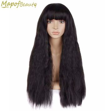 "28"" 70cm Long Curly Synthetic Hair 4 Colors Black Dark Brown Red Cosplay Wig Full Bang Hairstyles Female Halloween MapofBeauty"