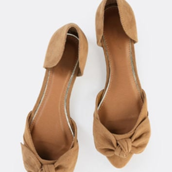 Pointy Toe Ribbon Flats TAN | MakeMeChic.COM