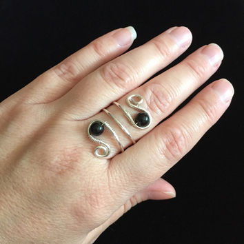 Sterling silver ring-wire ring-sterling silver jewelry-black obsidian-natural stones-wire wrapped