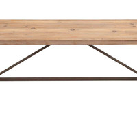 Handmade Work Bench With Iron Supports By Benzara