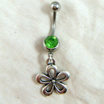 Belly Button Ring - Flower Button Ring - Belly Button Jewelry - Dangle Belly Ring - Green Rhinestone Belly Button Ring