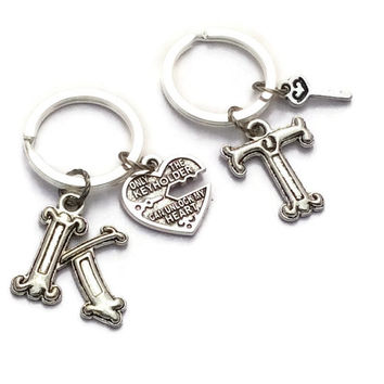 Personalized Couples Keyrings, Only The Keyholder Can Unlock My Heart, His and Her Initial Keychains, Long Distance Relationship, BFF Gifts