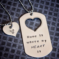 Home is Where My Heart Is dog tag necklace by StampedMemoriesbyMel