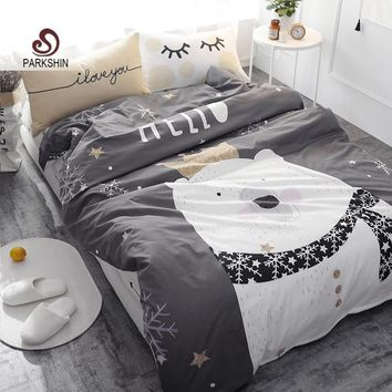 ParkShin White Bear on Gray Printed Bedding Set Kids Bedspread Duvet Cover Cute 100% Cotton Bed Set With Flat Sheet 4Pcs