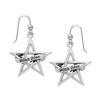 Witch Diva Pentacle Silver Halloween Earrings