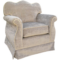 Angel Song 201721190Down Versailles Velvet Silver Adult Empire Rocker Glider w/ Plush Down Cushion
