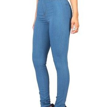 Classic Light Denim Vintage Skinny Fitted High Waist Womens Vibrant Jeans Pants
