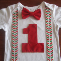 Boy first birthday outfit, Boy's red green chevron suspender birthday bodysuit, Boy first birthday onsie, baby green chevron birthday Onesuit