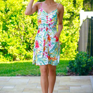 Tropical Button Tank Dress Ivory