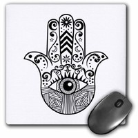 Hamsa Hand Black and White - Mouse Pad, 8 by 8 inches (mp_217281_1)