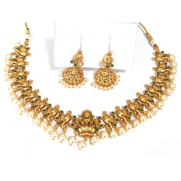 Temple jewelry - Goddess Lakshmi center with Lord Ganesha face Charm with pearl bead Choker necklace and jhumka earring set