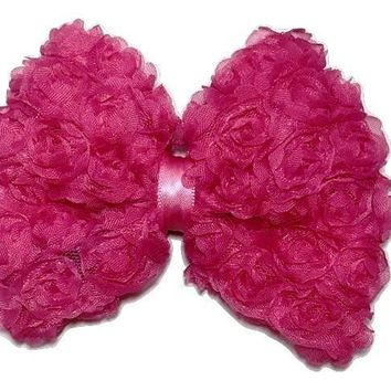 "Hot pink 4.5"" JUMBO shabby bow"