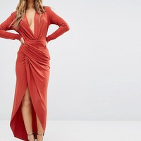 John Zack Petite Wrap Front Maxi Dress at asos.com