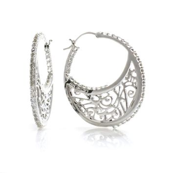 Large Sterling Silver Hoop Earrings with Signature Design with Q 6e39492959