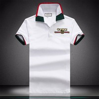 GUCCI 2018 summer new fashion embroidery letters casual POLO shirt short-sleeved T-shirt white