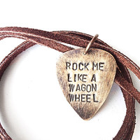guitar man necklace - guitar pick necklce - jewerly for men leather