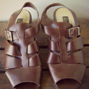 90s strappy WESTIES heeled sandals vintage brown leather summer shoes size 7 1/2 WOVEN straps open toes grunge hipster slingback boho 1990s