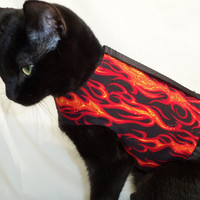 CoolCats Black and Orange Flame Cat Harness by Rockindogs on Etsy