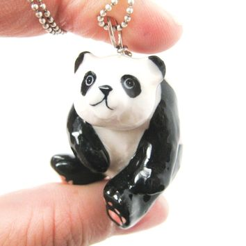 Adorable Panda Bear Porcelain Ceramic Animal Pendant Necklace | Handmade