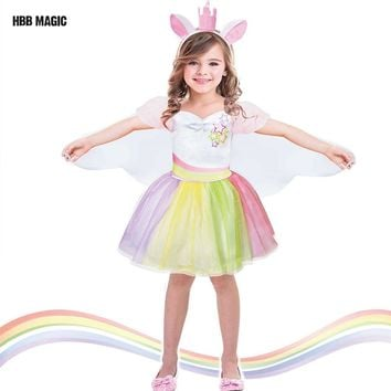 Creative Dress Up As Dance Unicorn Tutu Dress Kids Cosplay Magical Fairy Wings Costumes Cute Girl Rainbow Party Princess Dress
