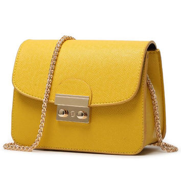 Fashion Women Shopping Leather Metal Chain Crossbody Satchel Shoulder Bag yellow