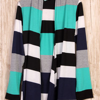 Stripes of Every Stripe Cardigan - Jade/Navy/Black