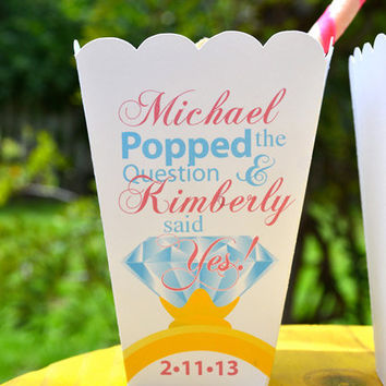 Personalized Engagement Party Popcorn Box Favors