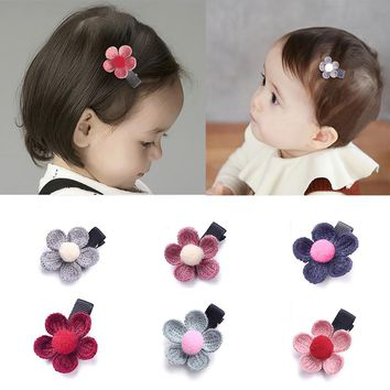 M MISM Kids Knit Petal Hair Clips Baby Knitting Flower Hairpins Sweet Girls Floral Hairgrips BB Cute Pompom Hair Accessories