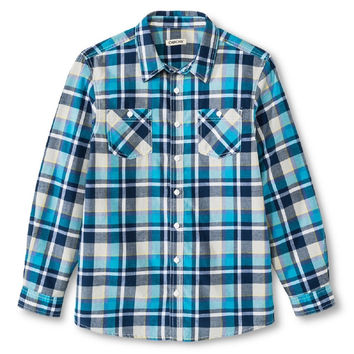 Boys' Plaid Button Down Cherokee Shirt, Turquoise, XL 16