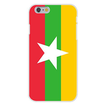 Apple iPhone 6 Custom Case White Plastic Snap On - Burma (Myanmar) - World Country National Flags