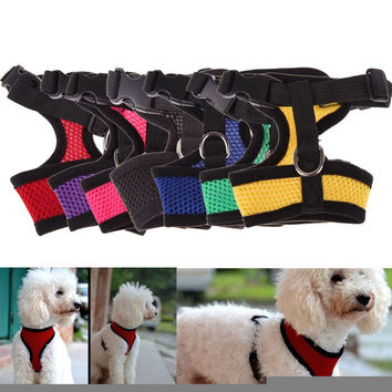 Hot sale adjustable dog harness for dog cat pet soft nylon breathable puppy dog vest harnesses teddy yorkie mesh collar harness