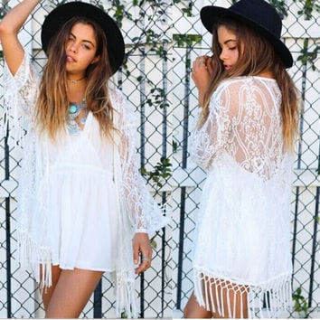 Lace Tassels Tops Jacket [6331508548]