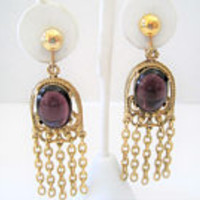 Amethyst Glass Earrings, Purple Dangles, Gold Tone Tassels, Chandelier Clip Earrings