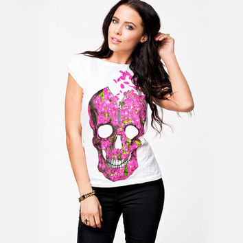 Women summer skull t shirt cool rock&roll t shirts fashion T-shirt novelty tee XS-XXL Free shipping