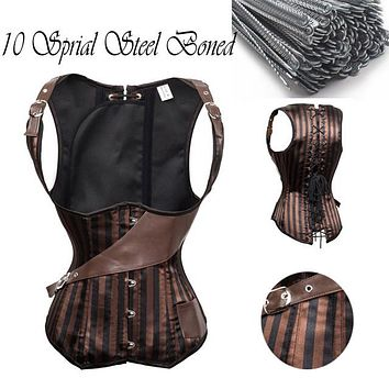 10 Sprial Steel Boned Waist Trainer Corset Pirate Burlesque Costumes Corsets And Bustiers Top Underbust Steampunk Corset