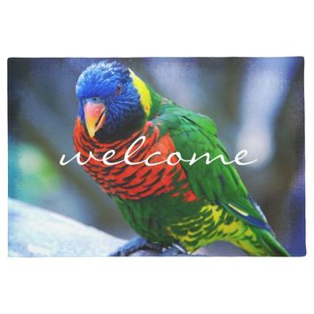 """Welcome"" cute red blue & green bird photo doormat"
