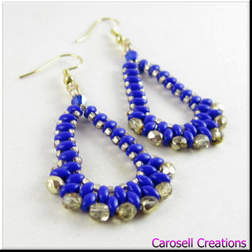 Teardrop Earrings Super Duo Seed Bead Beadwork in Blue and Gold