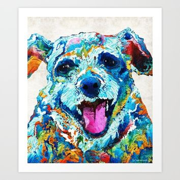 Colorful Dog Art - Smile - By Sharon Cummings Art Print by Sharon Cummings