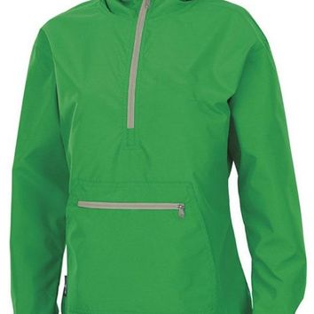 Chicloth Green Monogrammed Pullover Rain Jacket