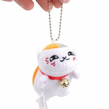 Natsume Yuujinchou Nyanko Sensei Cat Plush Keychain Stuffed Doll Toy Key Rings