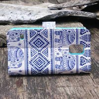 Elephant Samsung Galaxy Note 3 Case - Aztec Samsung Note 3 Case - Tribal Galaxy Note 3 Flip Wallet - Galaxy Note 3 Leather Wallet Case