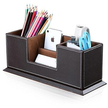 KINGFOM Office Supplies Double Holder Desktop Organizer Leather Storage Box 4 Divided Compartments for Pencils, Business Cards, Remote Control, Mobile Phone Cosmetics Collection Holder (Brown)