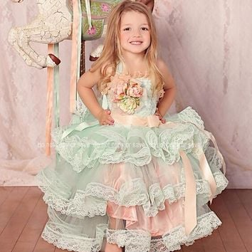 Mint Peach Pretty Litter Girls Cupcake Dresses Size 2-14 Lace Appliques Tiered Long Puffy Dress Cute Bow First Communion Dresses
