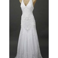 White Vintage Inspired Gowns- White Embroidered Tulle Halter Gown