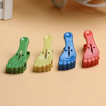 XUNZHE 3pcs/pack Multi-function Best quality Mini feet Clothes Photo Paper Peg Clothespin Laundry Hangers Craft Clips