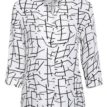 Printed Stand Collar 3/4 Sleeve Chiffon Blouse