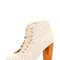 Ameera Cream Floral Lace Block Heel Shoe Boot