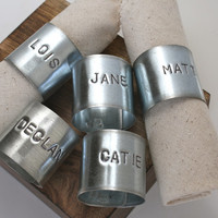Personalized Napkin Rings, Reusable Napkin Rings, Unique Napkin Rings, 5 Custom Names, Up cycled Metal Napin Rings, Eco Friendly Napkin Ring